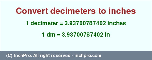 Result converting 1 decimeter to inches = 3.93700787402 inches