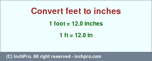 Result converting 1 foot to inches = 12.0 inches