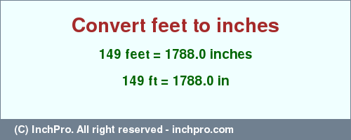 Result Converting 149 Feet To Inches 1788 0