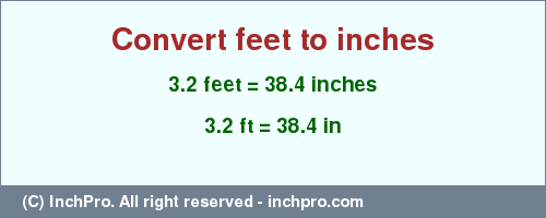 3 2 ft in inches - Convert 3 2 feet to inches | InchPro com