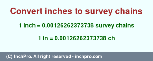 Result converting 1 inch to ch = 0.00126262373738 survey chains