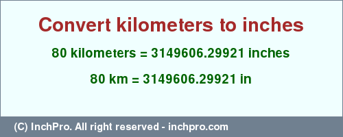 Result Converting 80 Kilometers To Inches 3149606 29921