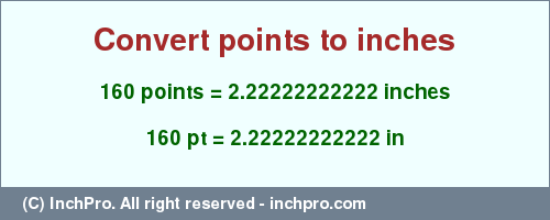 Convert 160 Pt In Inches By Conversion Tables