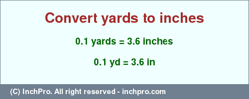Result converting 0.1 yards to inches = 3.6 inches