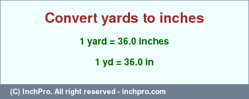 Result converting 1 yard to inches = 36.0 inches